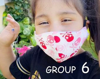 Child Face Mask Group SIX - Cotton Face Mask - Mask With Filter Pocket - Washable Mask -   3 Fabric Layers -  Proudly Made In USA!