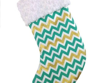 Gold/Green Large Chevron Christmas Stocking