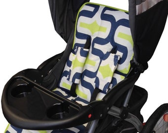 Lime Contempo Stroller Liner- Reversible to Navy Minky