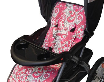 Love and Peace Floral Stroller Liner- Reversible to Hot Pink Minky