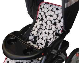 Baseball Stroller Liner-Reversible to Gray Minky
