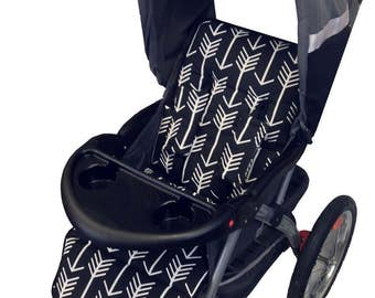Black Arrows Stroller Liner - Reversible to Black Minky