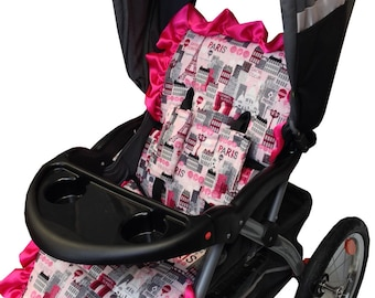Hot Pink Paris Stroller Liner-Reversible to Hot Pink Minky