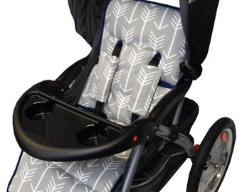 Gray Arrow Stroller Liner-Reversible to Gray Minky