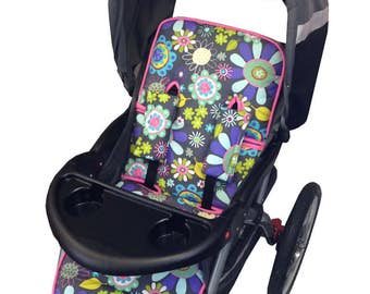 Flower Garden Stroller Liner - Reversible to Purple Minky