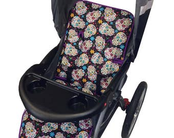 Sugar Skulls Stroller Liner - Reversible to Purple Minky