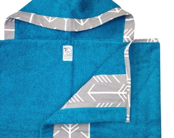 Gray Arrow Hooded Towel Aqua Gray