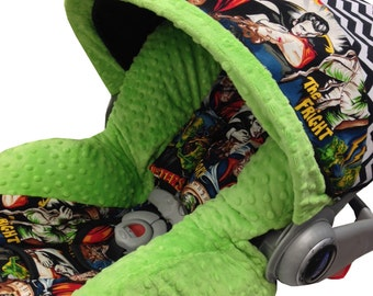 Classic Monsters Lime Infant Car Seat Cover