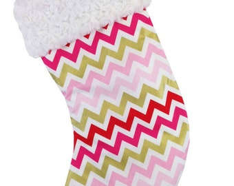 Pink/Gold ChevronChristmas Stocking