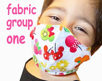 Child Size Face Mask Group One - Cotton Face Mask - Mask With Filter Pocket - Washable Mask -   3 Fabric Layers -  Proudly Made In USA!