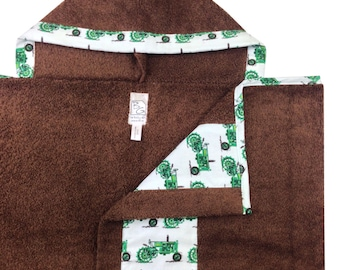 Tractors Hooded  Brown Towel Green Blue Brown