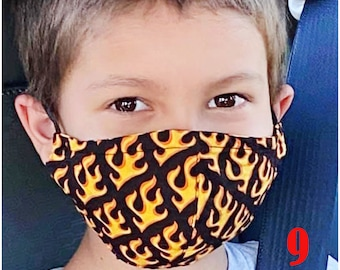 Child Face Mask Group NINE - Cotton Face Mask - Mask With Filter Pocket - Washable Mask -   3 Fabric Layers -  Proudly Made In USA!