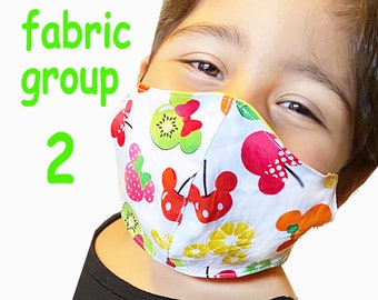 Child Face Mask Group Two - Cotton Face Mask - Mask With Filter Pocket - Washable Mask -   3 Fabric Layers -  Proudly Made In USA!