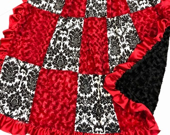 Black Damask/Red Adult Sized Throw Blanket