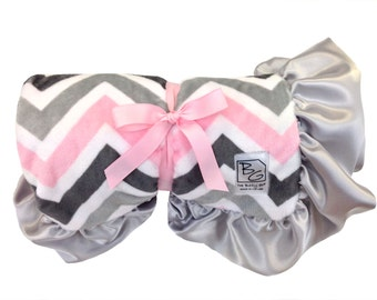 Pink and Gray Chevron Deluxe Minky Blanket