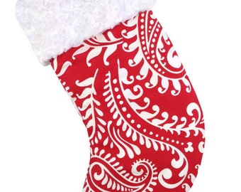 Red Paisley Christmas Stocking