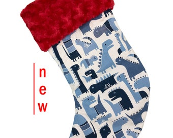 Dino Blue Christmas Stocking