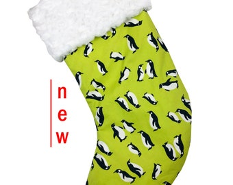 Penguin Lime Green Christmas Stocking
