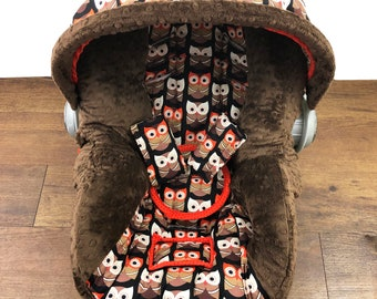 Rusty Owl Infant Car Seat Cover