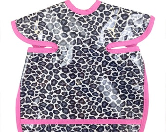 Gray Cheetah Apron Bib