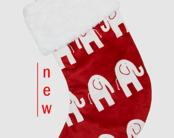 Red Ele Minky Christmas Stocking