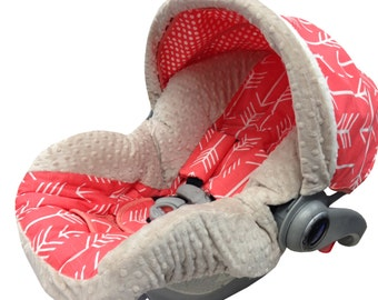 Coral Arrows Infant Car Seat Cover Latte Coral