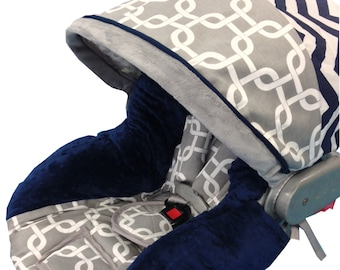 Gray Geo Infant Car Seat Cover Navy Gray