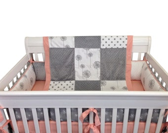 Make A Wish Crib Set with Bumpers- 4 Piece- Gray Dandilion/Peach