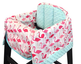 Pink Flamingo Restaurant High Chair Cover Hot Pink Aqua