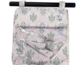Pink and Gray Damask 3 Hour Bag