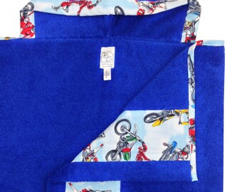 Motocross Hooded Towel Blue Red