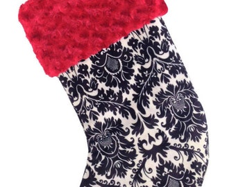 Black Damask Minky Christmas Stocking