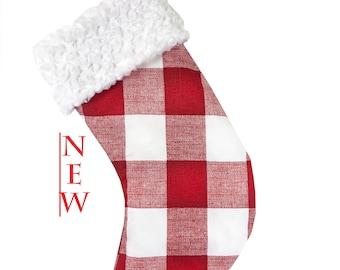 Red Buffalo Check White Cuff Christmas Stocking