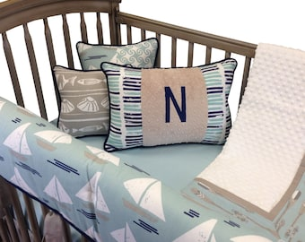 Sail Away Crib Bedding with Rail Guard- 4 Piece Set-Aqua Latte Navy