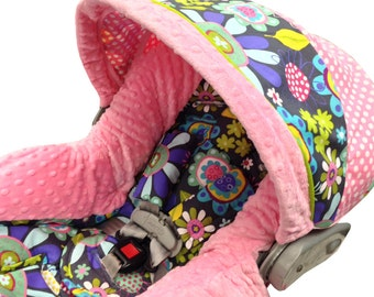 Flower Garden Infant Car Seat Cover Pink Purple