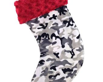 Gray Camo Minky Christmas Stocking