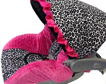Gray Cheetah Infant Car Seat Cover Black Hot Pink