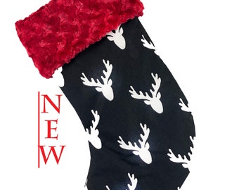 Black Deer Christmas Stocking Red Cuff