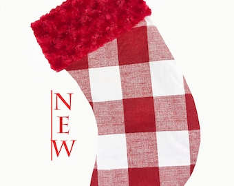 Red Buffalo Check Red Cuff Christmas Stocking