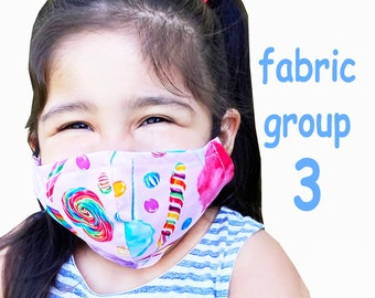 Child Size Face Mask Group Three - Cotton Face Mask - Mask With Filter Pocket - Washable Mask -   3 Fabric Layers -  Proudly Made In USA!
