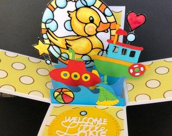 Baby shower invitation pop up card, baby girl congratulations card, baby shower invitation, new baby card for baby boy, baby shower invite