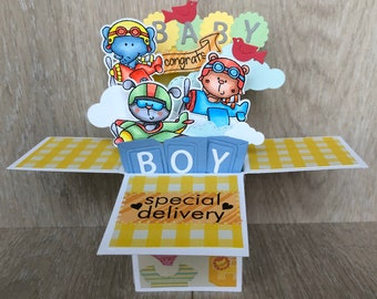 Baby pop up card, baby boy congratulations card, baby shower invitation, new baby card for baby boy, baby shower invitation, expecting card