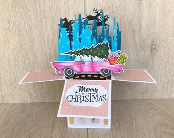 Retro Christmas card, 3D Christmas card in a box, explosion Christmas pop up card, handmade home for the holidays, Chevrolet Christmas card