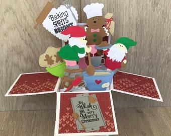 Handmade Christmas card, 3D Christmas card with gnomes, holiday pop up card Gnome Christmas pop up card, baking Christmas card, gnome card