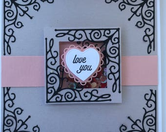 Beautiful Valentine's Day or anniversary card using hero arts stamps and dies- intricate 5.5 by 5.5 square love card