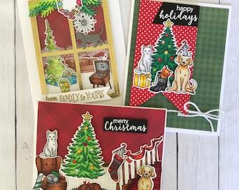 Pet Christmas card set, Cat Christmas card dog Christmas card to celebrate pet holiday card giving season, cat lover card, dog lover card