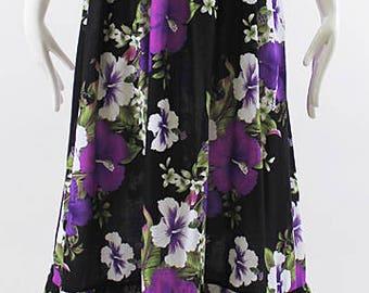 Black Purple Hawaiian Dress, Handmade Smock Dress, Plus Size Long Dress, Tropical Vacation Dress, Holiday Gift, One Size Fits Small - 2XL