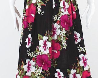 Black pink Hawaiian dress / Handmade smock dress / Plus size long dress / Tropical vacation dress / Holiday gift / One size fits small - 2XL