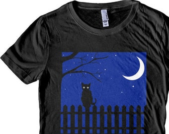Halloween Cat Shirt, Cat Moon Fence, Cat Shirt. Men's and Women's T-shirts and Tank Tops. Screen Printed!