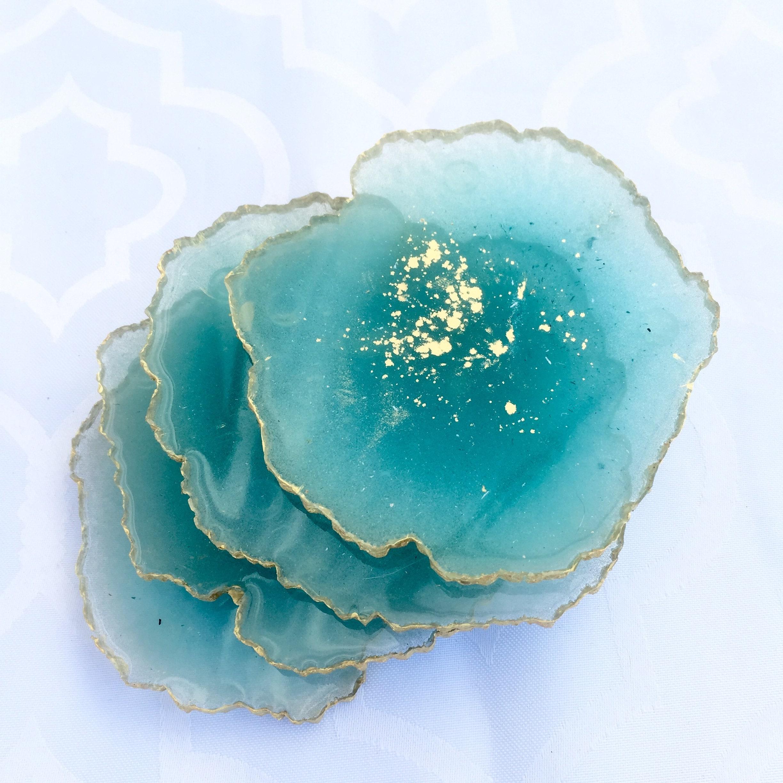 set of matching 2 Large Geode Resin Coasters